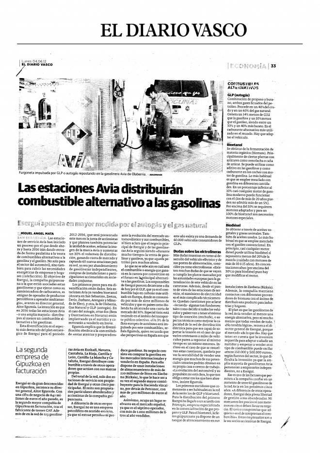 Reportaje del Diario Vasco sobre la oferta de nuevos combustibles